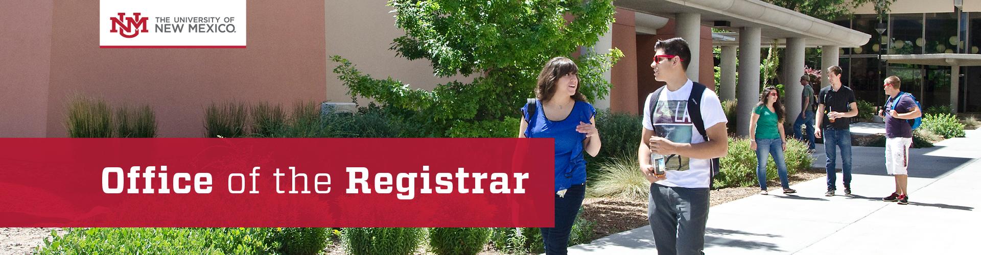 UNM Registrar Header Image
